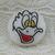 Older Donald Duck White Glass Button