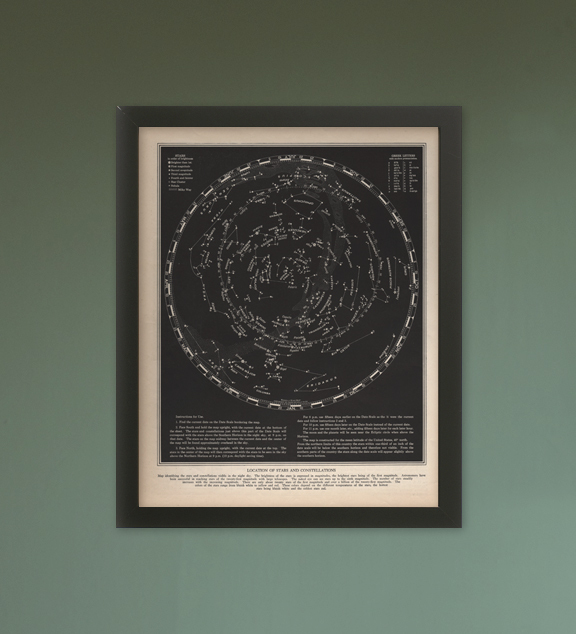 Star Map - Art Print - Various & Custom Sizes & Colors Available