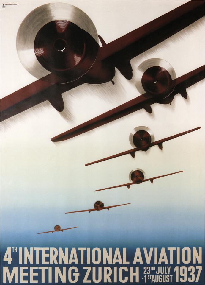 """Vintage 4th International Aviation Meeting Zurich - Art Print - 13"""" x 19"""" -"""