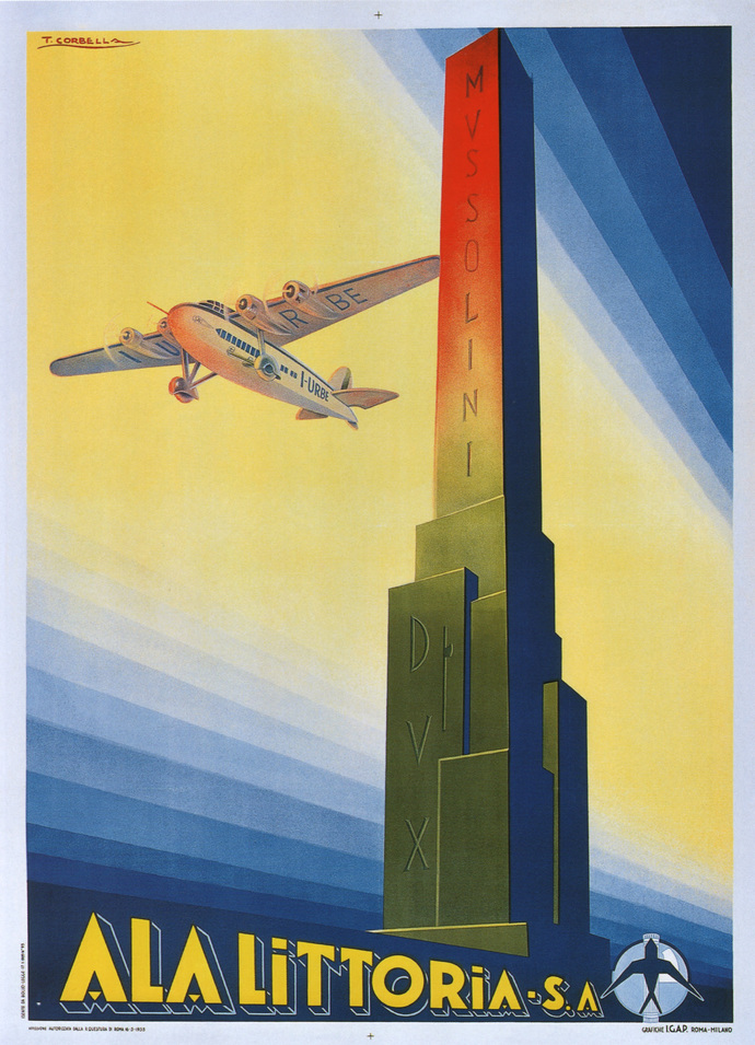 "Vintage Ala Littoria Poster - Art Print - 13"" x 19"" - Custom Sizes Available"