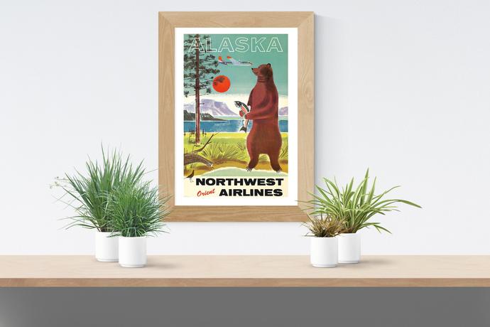 "Vintage Alaska Travel Poster - Art Print - 13"" x 19"" - Custom Sizes Available"