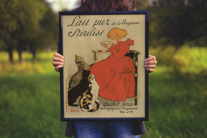 """Vintage Girl and Cats Milk - Art Print - 13"""" x 19"""" - Custom Sizes Available"""