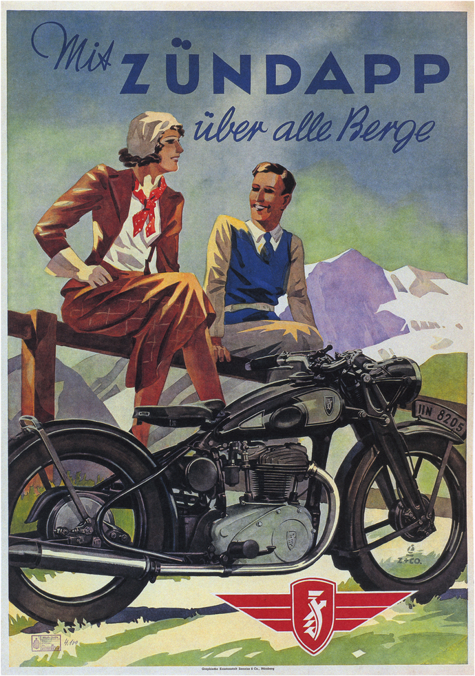 "Vintage Mis Zundapp Motorcycle Advertising Poster - Art Print - 13"" x 19"" -"
