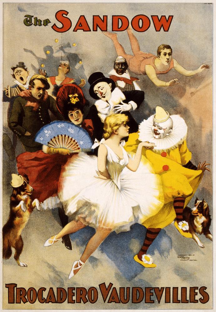 "Vintage The Sandow Vaudville Poster - Art Print - 13"" x 19"" - Custom Sizes"
