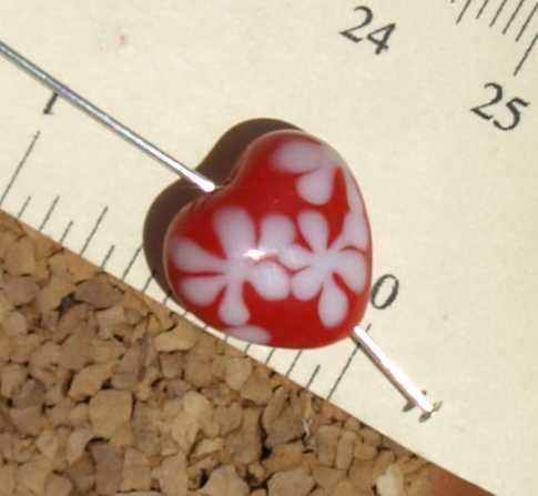 Red Heart Glass Beads