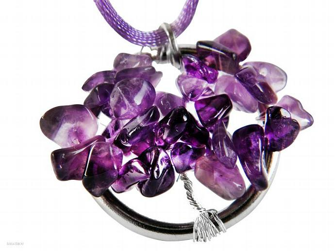 Tree of Life Purple Amethyst Quartz Silver Plated Silk Cord