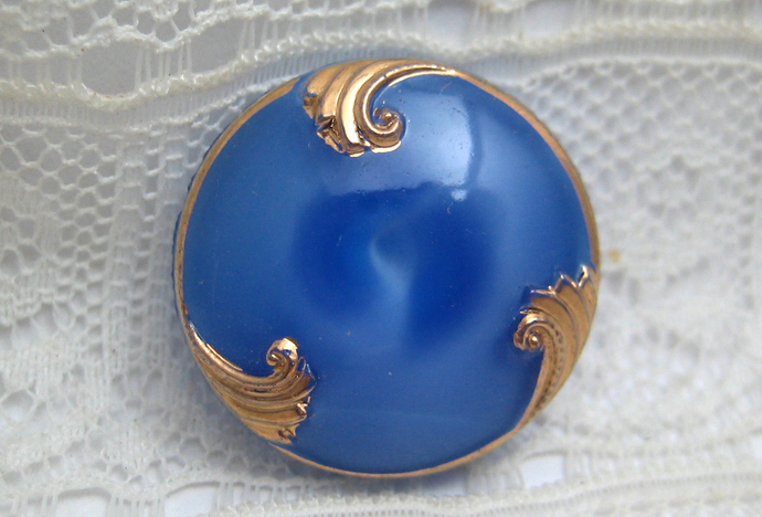 Vintage Blue Glass with Gold Luster Moonglow Vintage Button