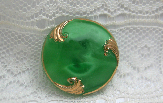 Vintage Green Glass with Gold Luster Moonglow Vintage Button 1950's