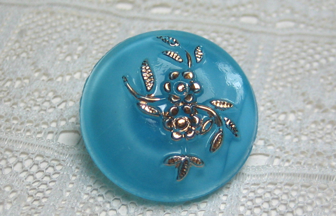 """11/16"""" Turquoise Glass Moonglow Button with Gold Luster Flowers"""