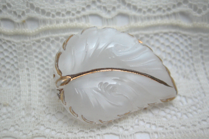Vintage Moonglow White Glass Leaf Button with gold luster 50's