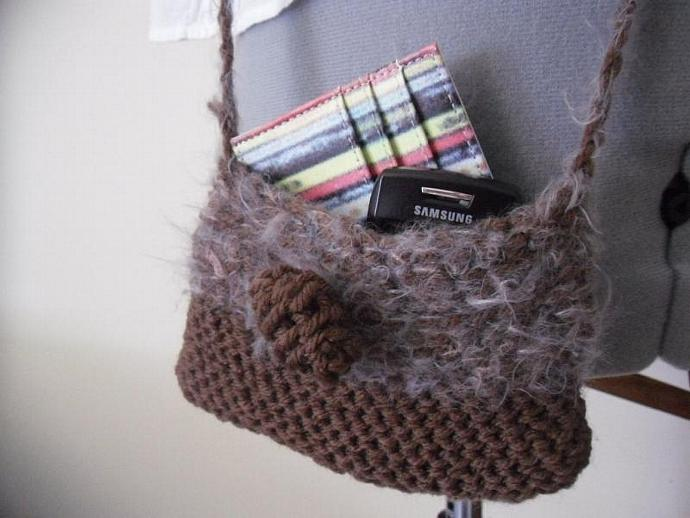 Hand Knitted Mini Cross Shoulder Purse with Feather and Red Rondelle Stone