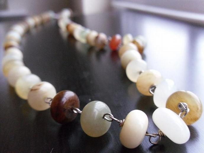 Little Jade Wire Wrapped Long Necklace/Bracelet