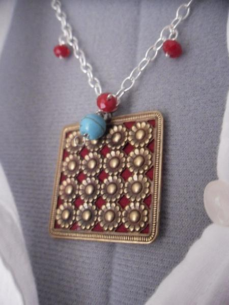 Sweet Sixteen Little Daisy Pendent Necklace Red  and Turquoise Gemstones