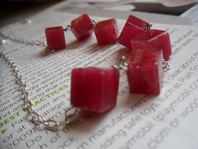 Sugar Cubes-Red Jade Necklace