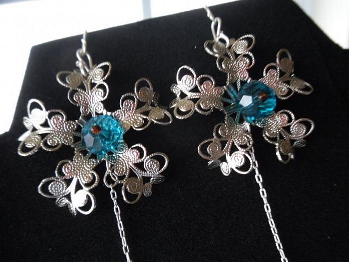 Blue Crystal Butterfly Filigree Earrings-Long earrings