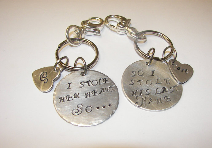 I stole her heart so I stole his last name, engament  wedding keychain set,