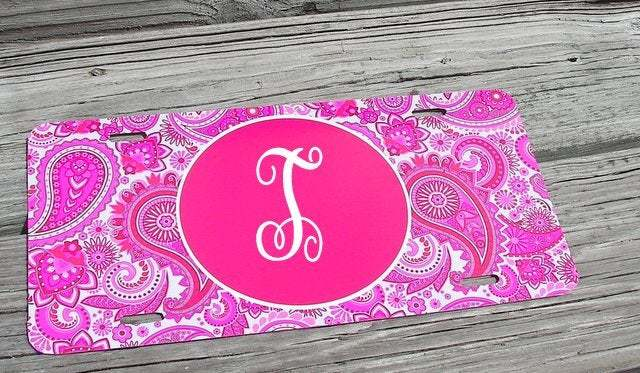 Custom personalized  monogram  car tag,  beach print car plate, personalized