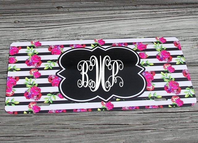 Custom personalized  monogram  car tag,  beach print car plate, personalized