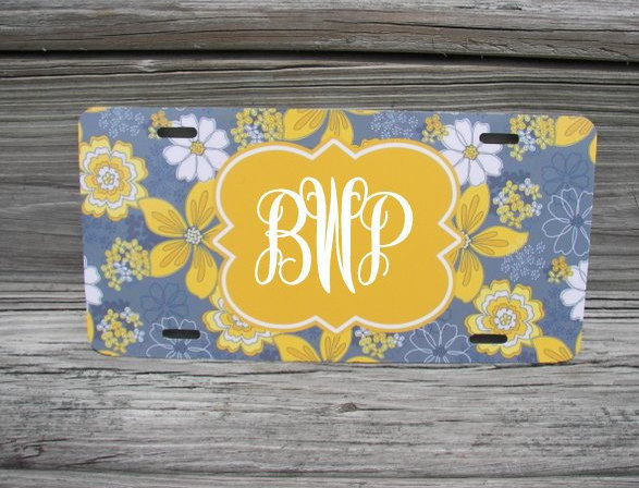Personalized car tag, lily inspired car tag, custom car tag, font license plate