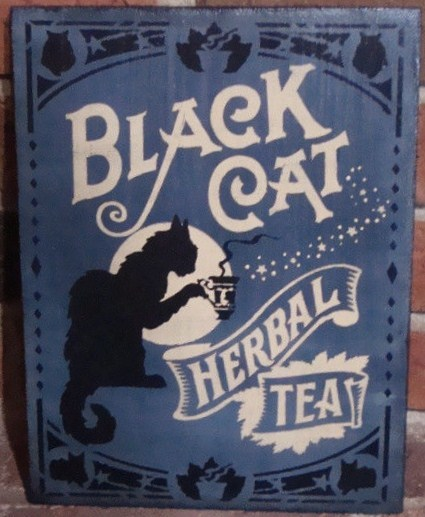 Primitive Witch Sign Black cat Herbal Tea Witches Halloween Decorations cats