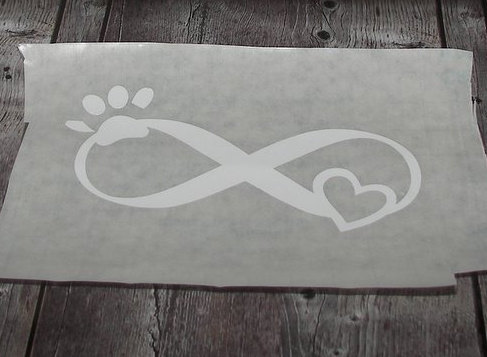 Infinity decal, pet lover car decal, custom car decal, paw and infinity decal,