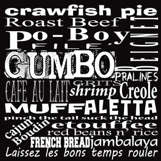 New Orleans Food French Cuisine Choices Coaster Gift PoBoys Gumbo Beignets