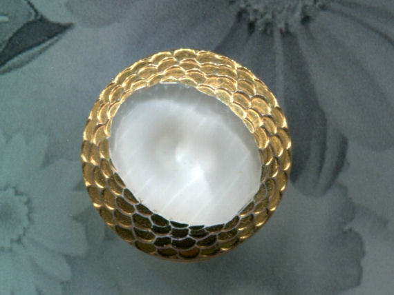 Vintage MEDIUM White Moonglow with Gold Luster Button, 50's