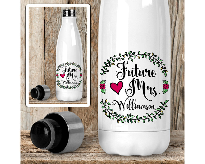 Water Bottle, Personalized Future Mrs 004, Bride To Be, Engaged, Will You Marry