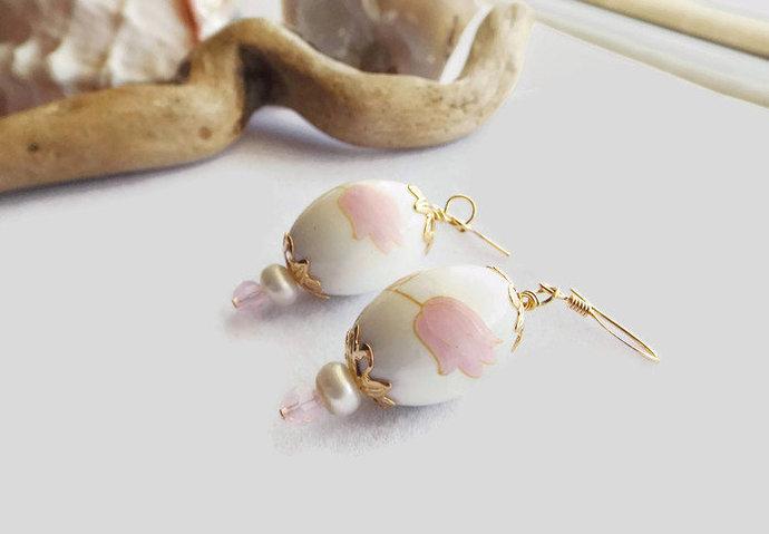 Porcelain Egg-Shaped Earrings, Beaded Flower Drop Earrings, Handmade Pearl