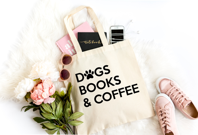 Dogs, Books & Coffee Canvas Tote