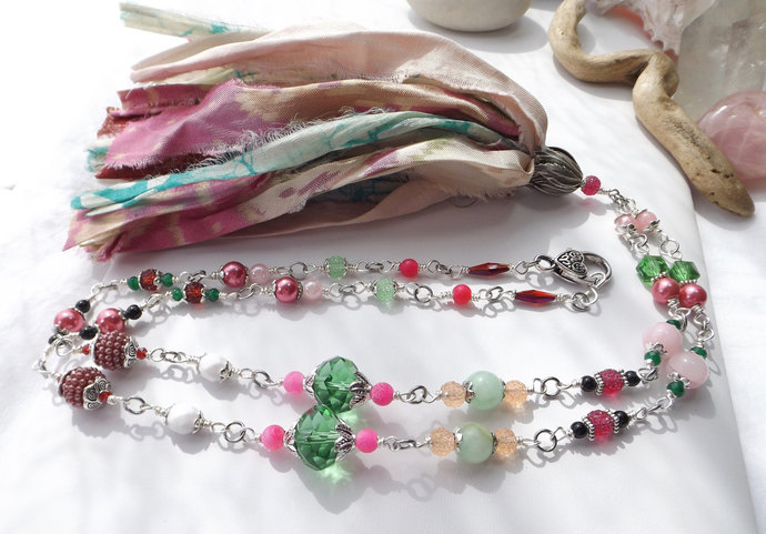 Printed Sari Silk Tassel on Beaded Chain Boho Statement Necklace in Pink, Red,