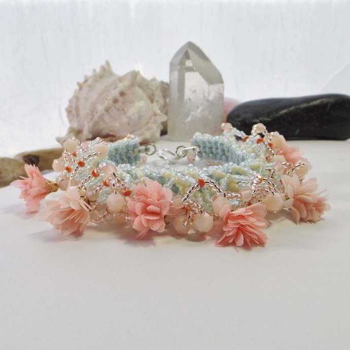 Hand Woven Statement Cuff Bracelet in Coral, Blue, Pink with Flower Tassels,