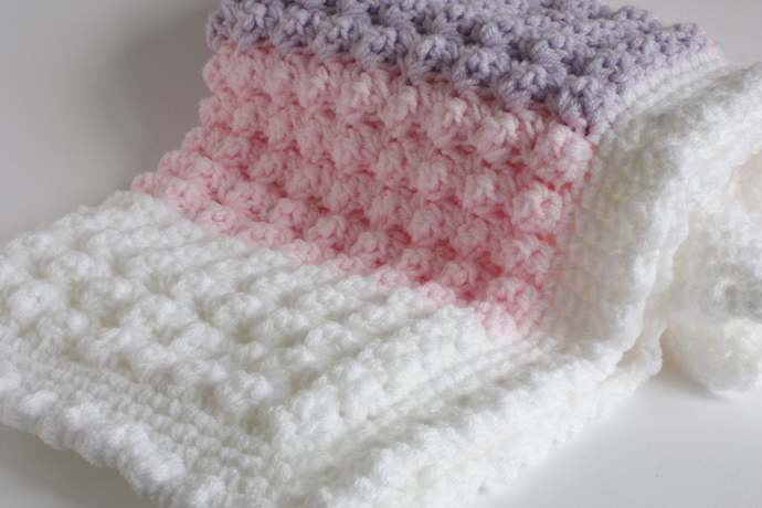 """Baby blanket, pink lilac white, 32"""" x 24"""" approx,"""