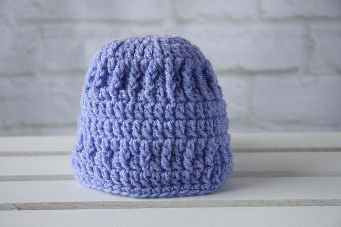 Crochet baby hat,  beanie hat, shower or christening gift for a newborn girl,