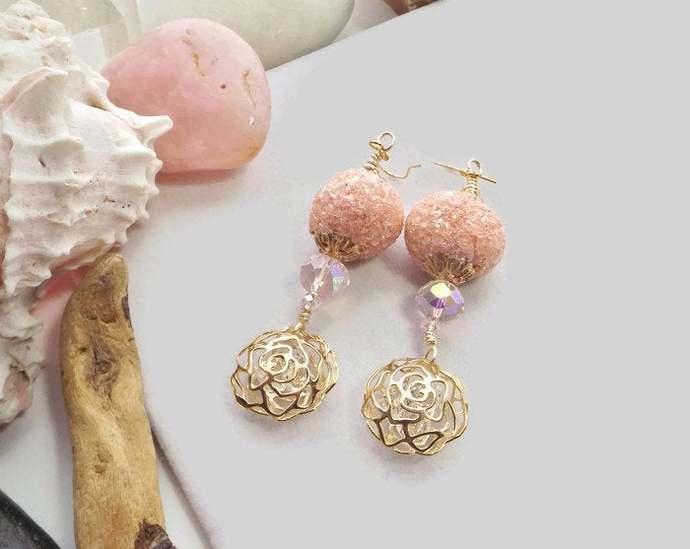 Pink and Gold Flower Cage Earrings, Crystal Dangle Earrings, Beaded Flower