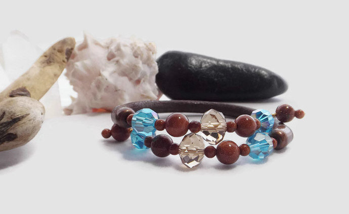 Distressed Brown Leather Memory Wire Bracelet, Gold Stone & Blue Glass Beaded