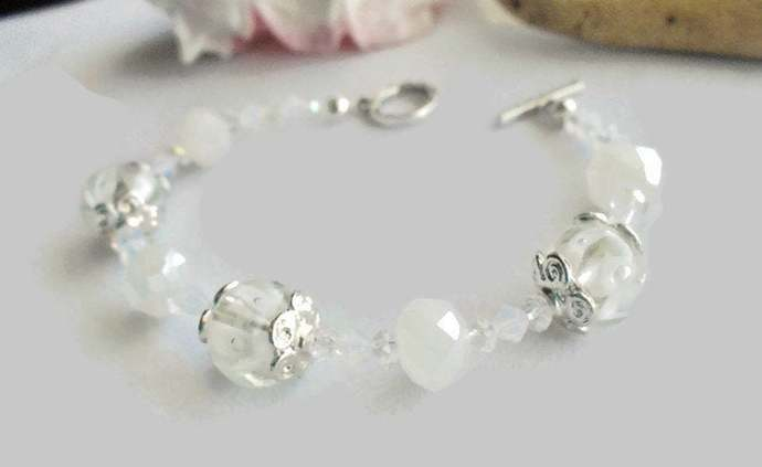 Winter White and Silver Beaded Bracelet, Crystal and Lampwork Holiday Bracelet,