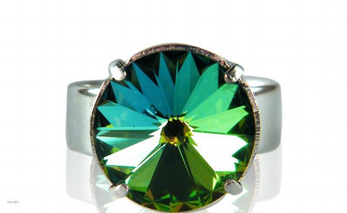 Empire Ring Green Vitrail Swarovski Crystal Silver Plated