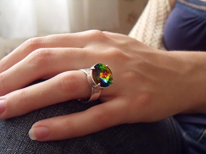 Empire Ring Green Vitrail Swarovski Crystal Silver Plated