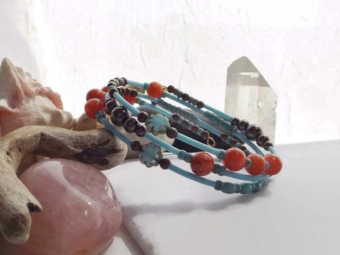 Adjustable Memory Wire Bracelet, Turquoise Orange Cuff Bracelet, Handmade Beaded
