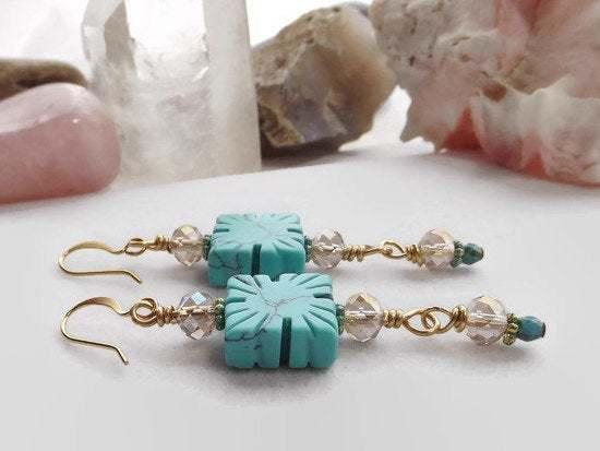 Handmade Beaded Dangle Earrings, Turquoise Blue and Gold Earrings, Rustic Drop