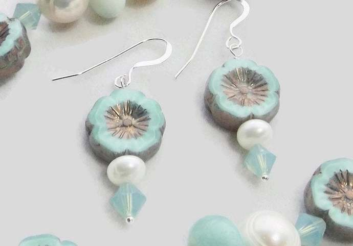 Flower Bead Hawaiian Drop Earrings, Pearl and Swarovski Crystal Dangle Earrings,