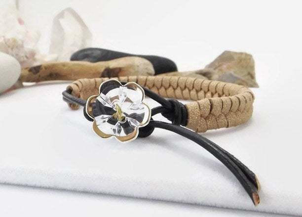 Wrap Leather Beige Bracelet, Handwoven Fishtail Bracelet, Handmade Southwestern