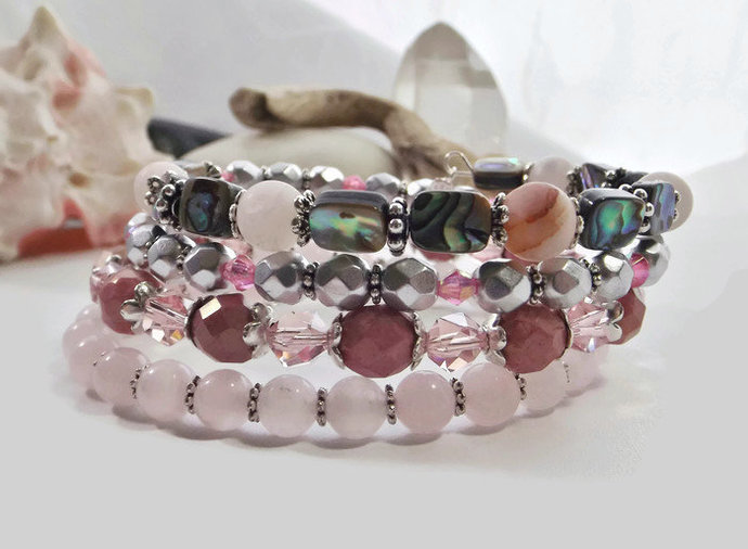 Gemstone and Glass Beaded Memory Wire Adjustable Cuff Bracelet with Quartz,