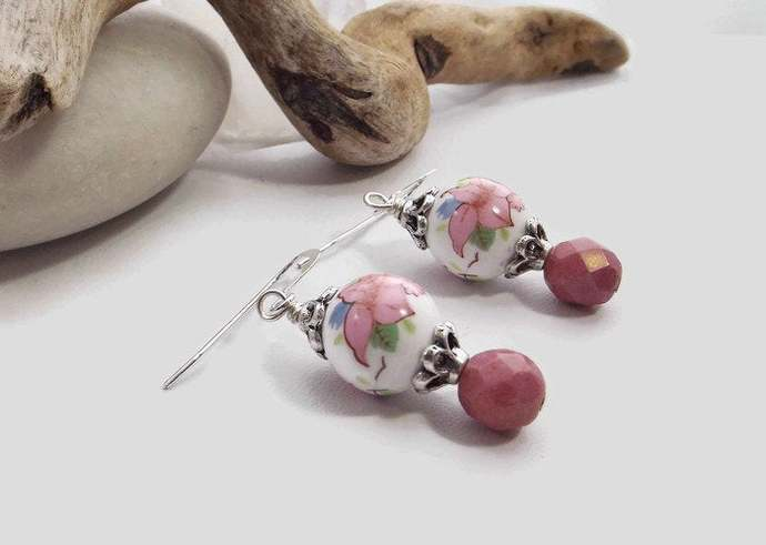 Pink and White Ceramic Flower Beaded Drop Earrings with Czech Glass Beads,
