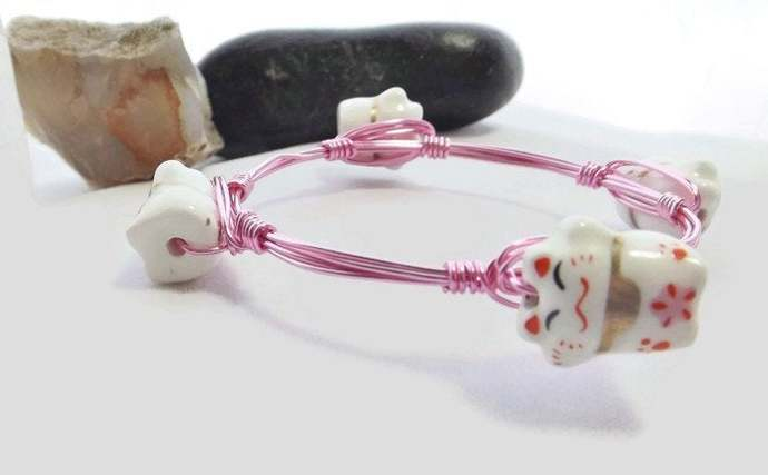 Wire Wrapped Bangle Stacking Bracelet in Pink with Porcelain Anime Cat Beads,