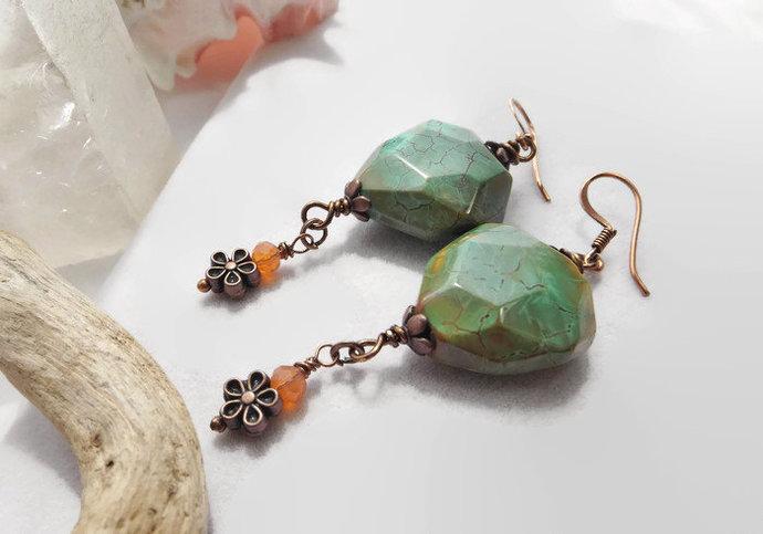 Green Agate Dangle Boho Earrings with Copper Flower Beads, Handmade Southwestern
