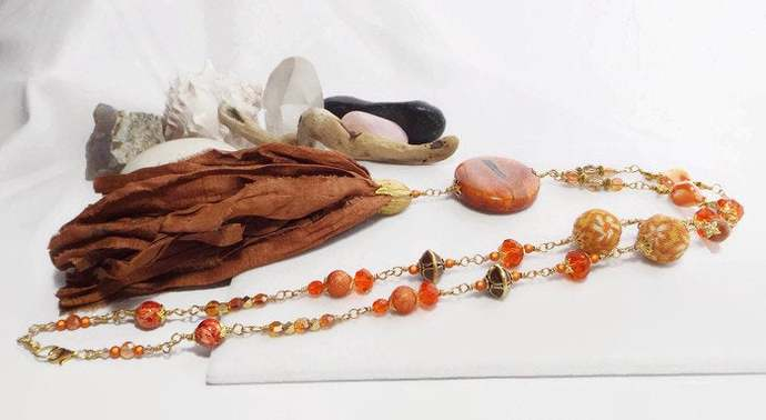 Redwood Brown Sari Silk Tassel, Orange Fire Agate Pendant Necklace, Boho Beaded
