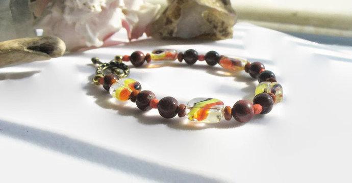 Handmade Jasper Beaded Bracelet, Orange and Brown Bracelet, Southwest Gemstone