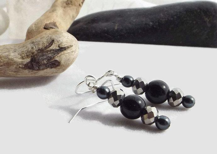 Silver and Black Beaded Drop Earrings, Obsidian and Glass Dangle Earrings,